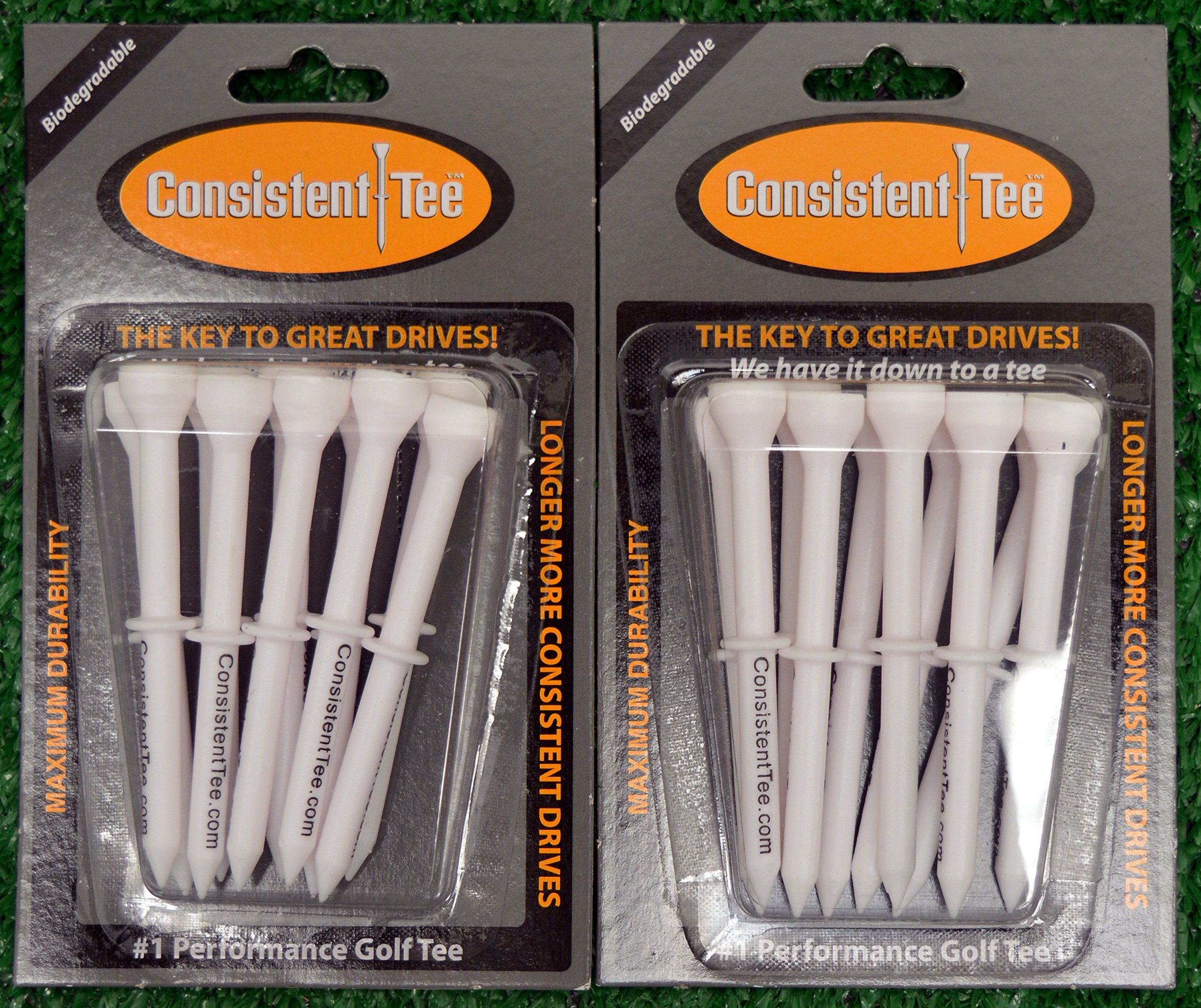 2 Consistent Tee 3 1/4'' Golf Tee Packs - White
