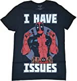 Fashion Marvel Comics Deadpool I Have Issues Black Graphic T-Shirt