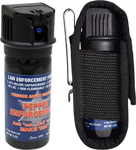 Pepper Enforcement PE510MF-FT Fogger Pepper Spray Tactical Metal Clip Holster – Police Grade 10 OC Maximum Strength Formula – Self Defense Non Lethal Weapon for Personal Safety and Protection
