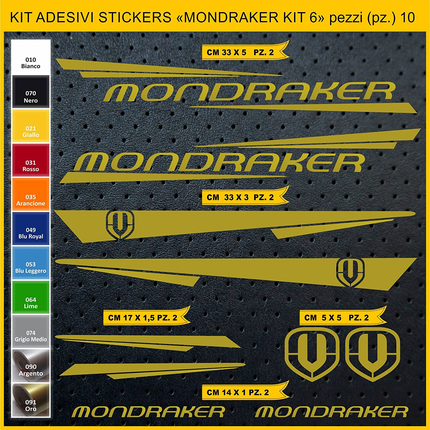 Kit Pegatinas Stickers Bicicleta MONDRAKER - Kit 6-10 Piezas- Bike Cycle Cod. 0886 (091 Oro): Amazon.es: Deportes y aire libre