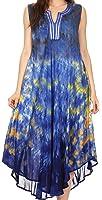 Sakkas Kalia Sleeveless Tide Dye Split Neck Dress / Cover Up