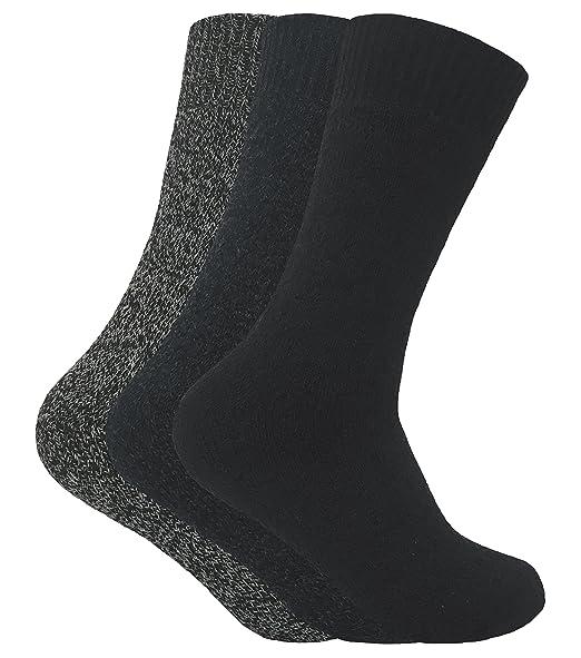 Sock Snob 3 pares hombre invierno lana sin elasticos calcetines para botas en 4 colores (