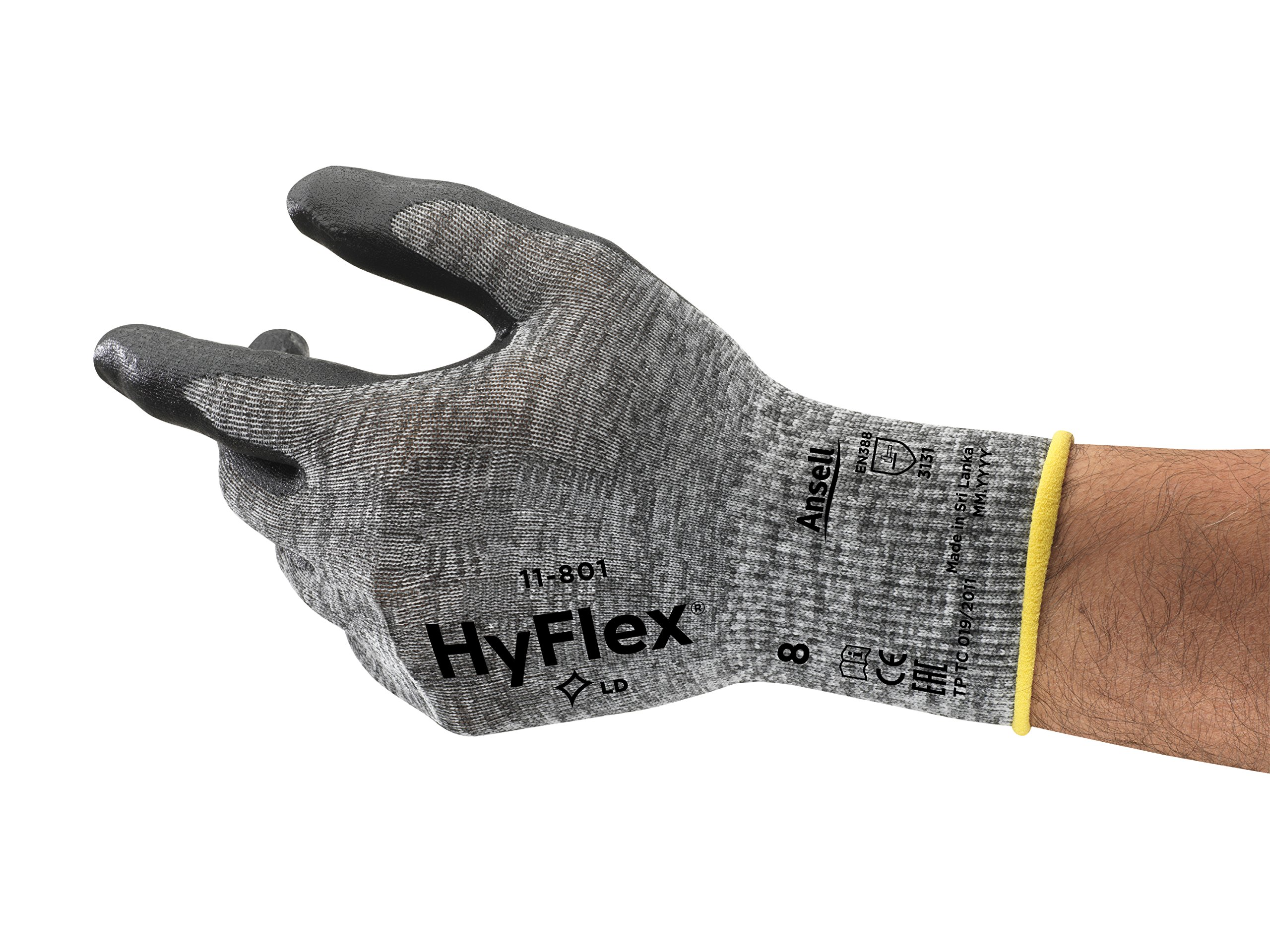 Ansell HyFlex 11-801 Nylon Glove, Black Foam Nitrile Coating, Knit Wrist Cuff, Large, Size 9 (Pack of 12)