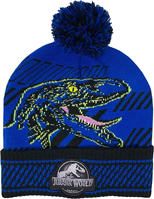 JURASSIC WORLD PARK INDOMINUS REX Winter Beanie Hat /& Gloves Set w// Pom-Pom  $24