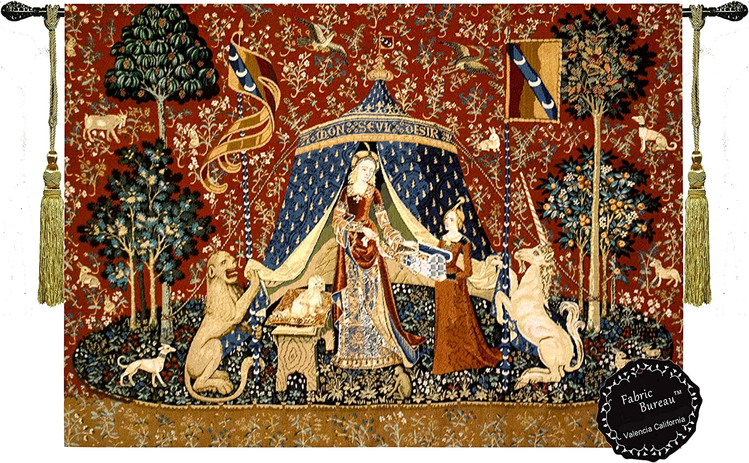 Semtomn Tapestry Wall Hanging French The Lady and Unicorn to My Only 16Th Polyester Fabric Home Decor Tapestries for Living Room Bedroom Dorm 60x80 Inches