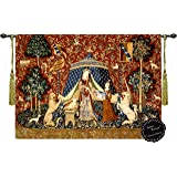 """Desire-the Lady and the Unicorn Medieval Jacquard Woven 47""""w X33.5""""l Wall Hanging Tapestry Free shipping from US"""