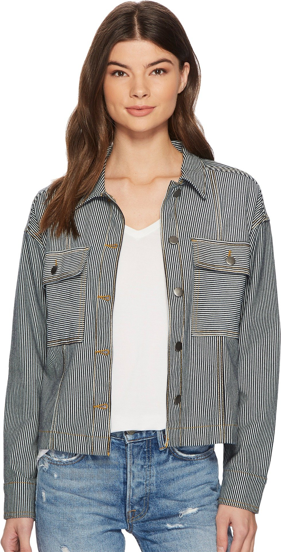 Splendid Women's Starboard Indigo Stripe Double Pocket Jacket Dark Wash Large by Splendid