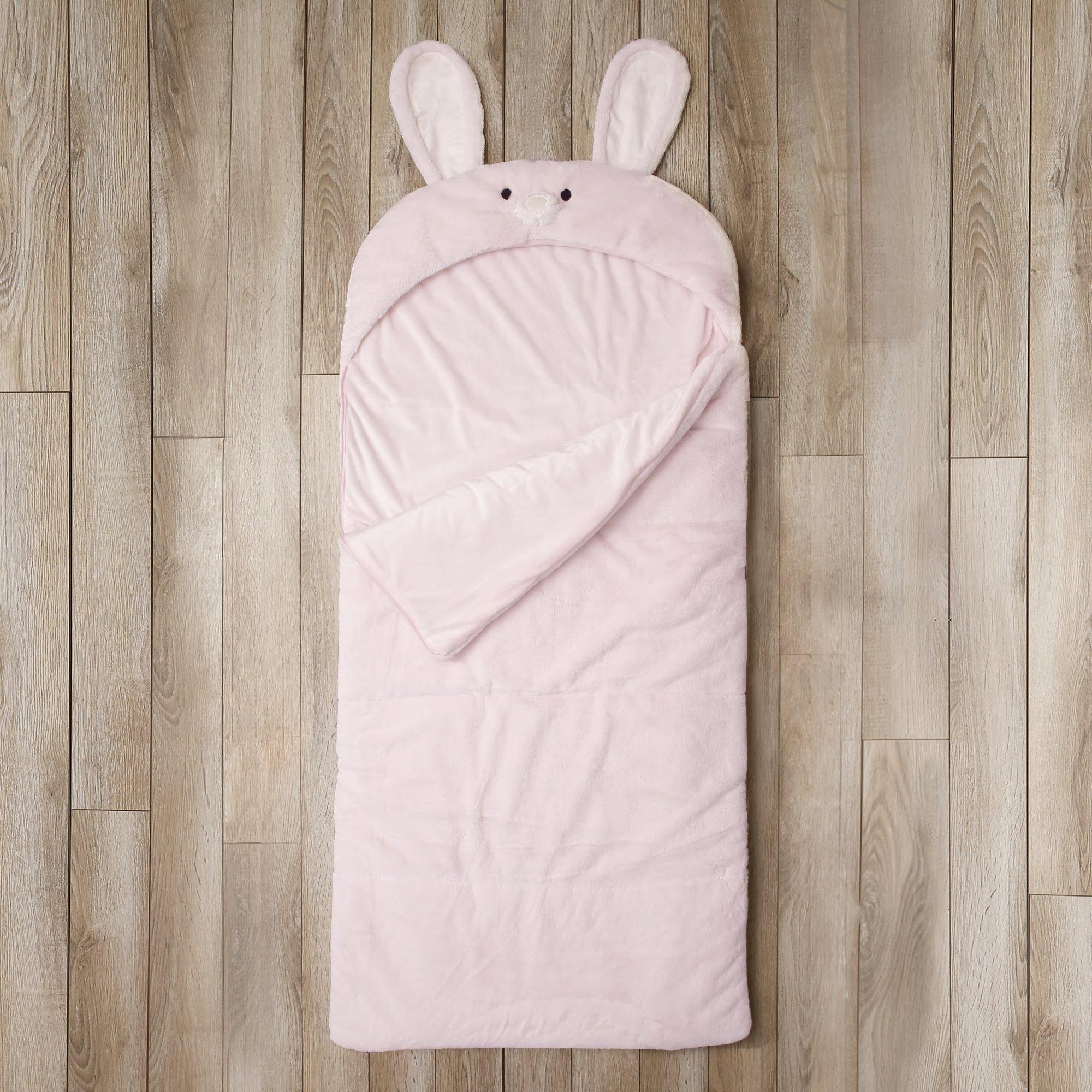 Toddler Sleeping Bag Kids Plush Bunny Rabbit Faux Fur Gift Slumber Bag (Pink)