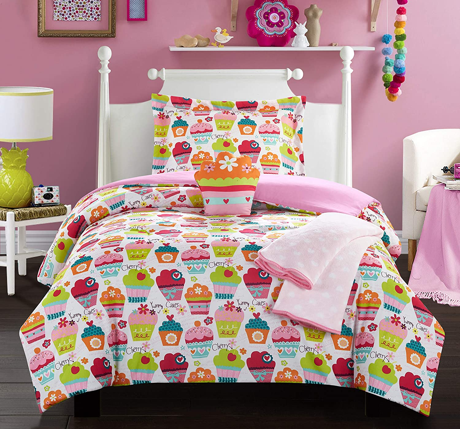 Chic Home Tasty Muffin 4 Piece Comforter Set Sweet Dreams Theme Pattern Print Youth Design Bedding-Throw Blanket Decorative Pillow Sham Included, Twin