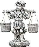 gartendekoparadies.de Massive Steinfigur Mädchen mit Blumenampel bepflanzbar aus Steinguss frostfest