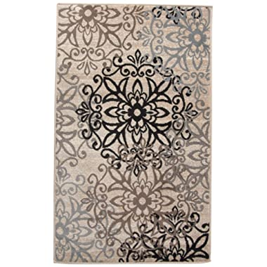 Superior Elegant Leigh Collection Area Rug, 8mm Pile Height with Jute Backing, Chic Contemporary Floral Medallion Pattern, Anti-Static, Water-Repellent Rugs - Beige, 3' x 5' Rug