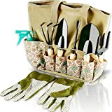 Scuddles Gardening Tools Set - 8 Piece Heavy Duty Garden Tools Set Includes Ergonomic Weeder Rake Shovel Trowel Sprayer…