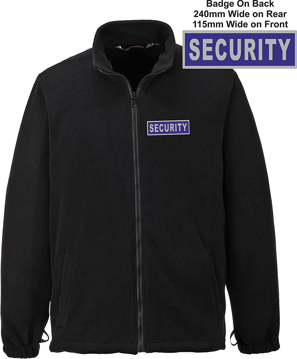 Hi Vis Heroes Black 3 in 1 Security Jacket with Reflective Badges Printed Chest and Back.