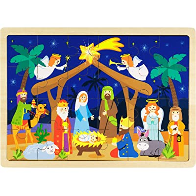 O Holy Night Nativity Scene 24-Piece Wooden Christmas Jigsaw Puzzle with Inset Frame by Imagination Generation: Toys & Games