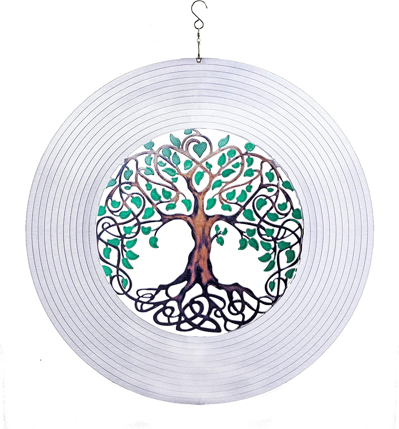 ISEO Extra Large Tree of Life Wind Spinner 15 inches – Outdoor Porch Decorations – Holiday Yard Accessories – Fun Garden Beautification Items – Swivel Hanging Hook