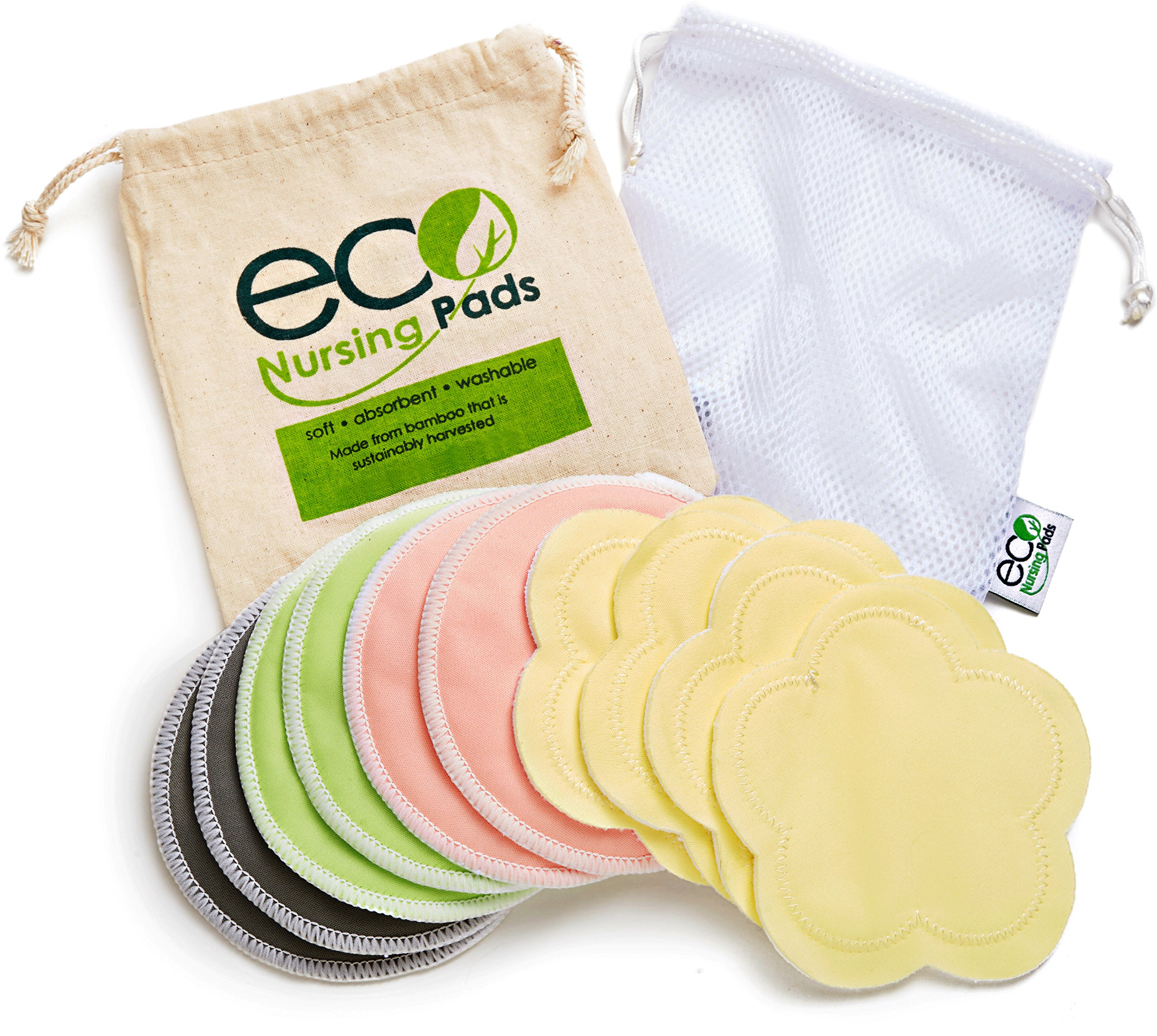 Washable Reusable Bamboo Nursing Pads | Organic Bamboo Round Breastfeeding Pads, Ultra-Soft Velvet Flower Pads | 10 Pack with 2 BONUS Pouches & FREE E-Book by EcoNursingPads | Perfect Baby Shower Gift by EcoNursingPads