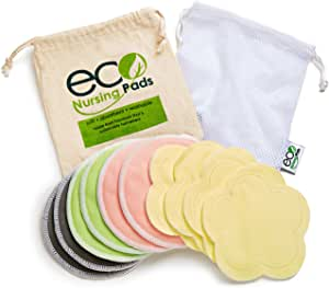 Washable Reusable Bamboo Nursing Pads, Organic Bamboo Breastfeeding Pads, 4 Flower Pads, 10 Pack with 2 Pouches & E-Book
