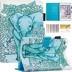 iPad Mini Case, iPad Mini 5 Case with Pencil Holder, Dteck Slim Leather Folio Stand Smart Case with Sleep/Wake, Card Slots for Apple iPad Mini 5/4/3/2/1, Green Elephant