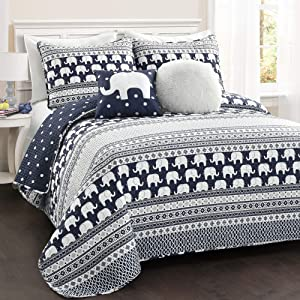Lush Decor Elephant Stripe 4 Piece Quilt Set, Navy, Twin