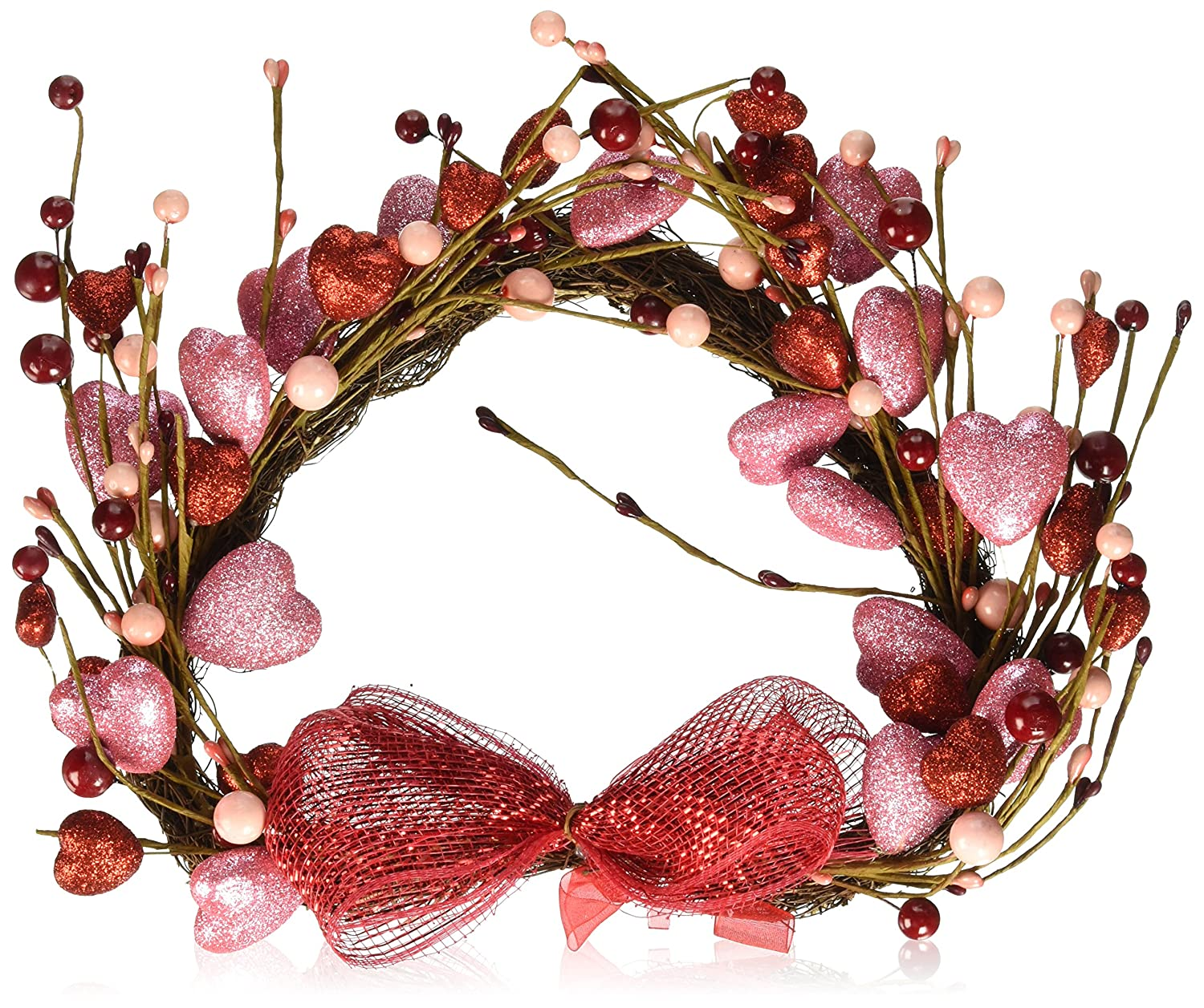 Amazon decorative glitter sparkling valentines day holiday amazon decorative glitter sparkling valentines day holiday heart wall hanging decor grapevine twigs hearts picks red pink berries bow ribbon home amipublicfo Gallery