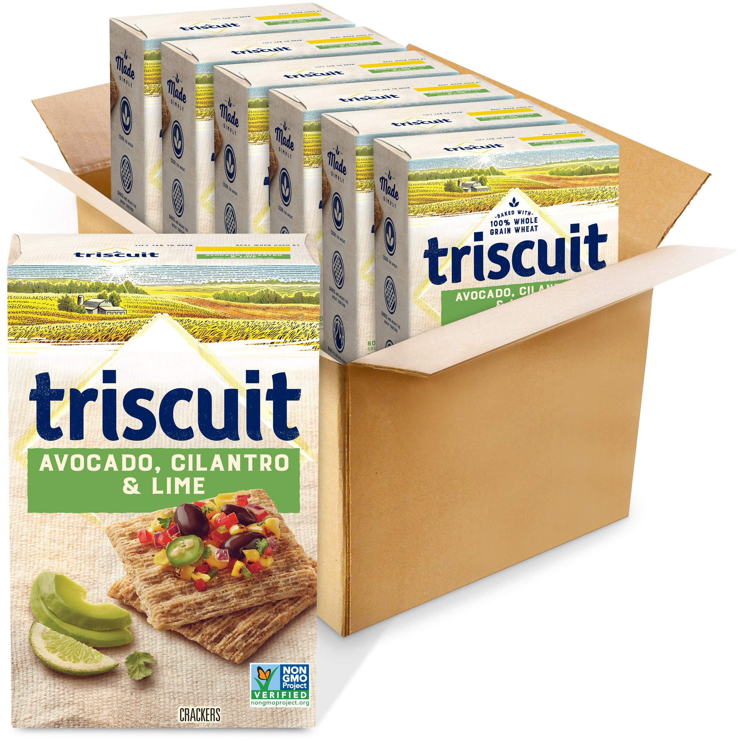 Triscuit Avocado, Cilantro, & Lime Crackers, Non-GMO, 8.5 Ounce (Pack of 6)