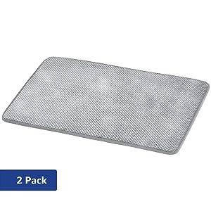 AmazonBasics Textured Memory Foam Bath Mat - Grey, Small, 2-Pack