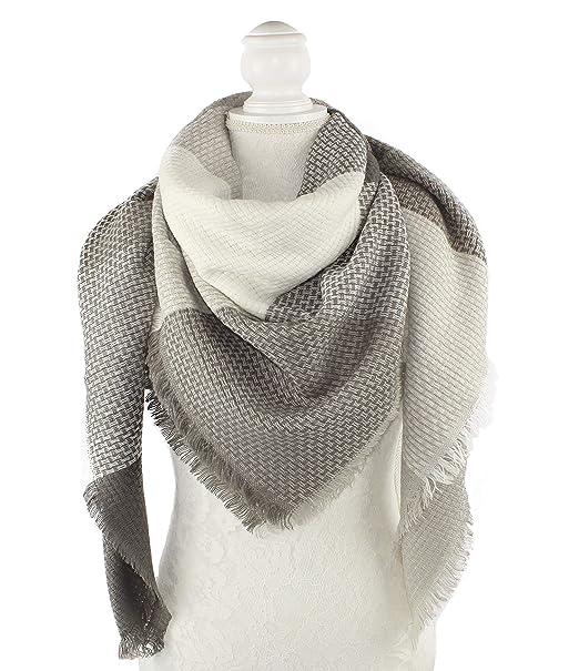 nativo Êcharpe Carreaux Tartan Cachemire Châle plaid Foulard Laine Hiver  femme (blanc gris claire)  Amazon.fr  Vêtements et accessoires 66d289d33d4