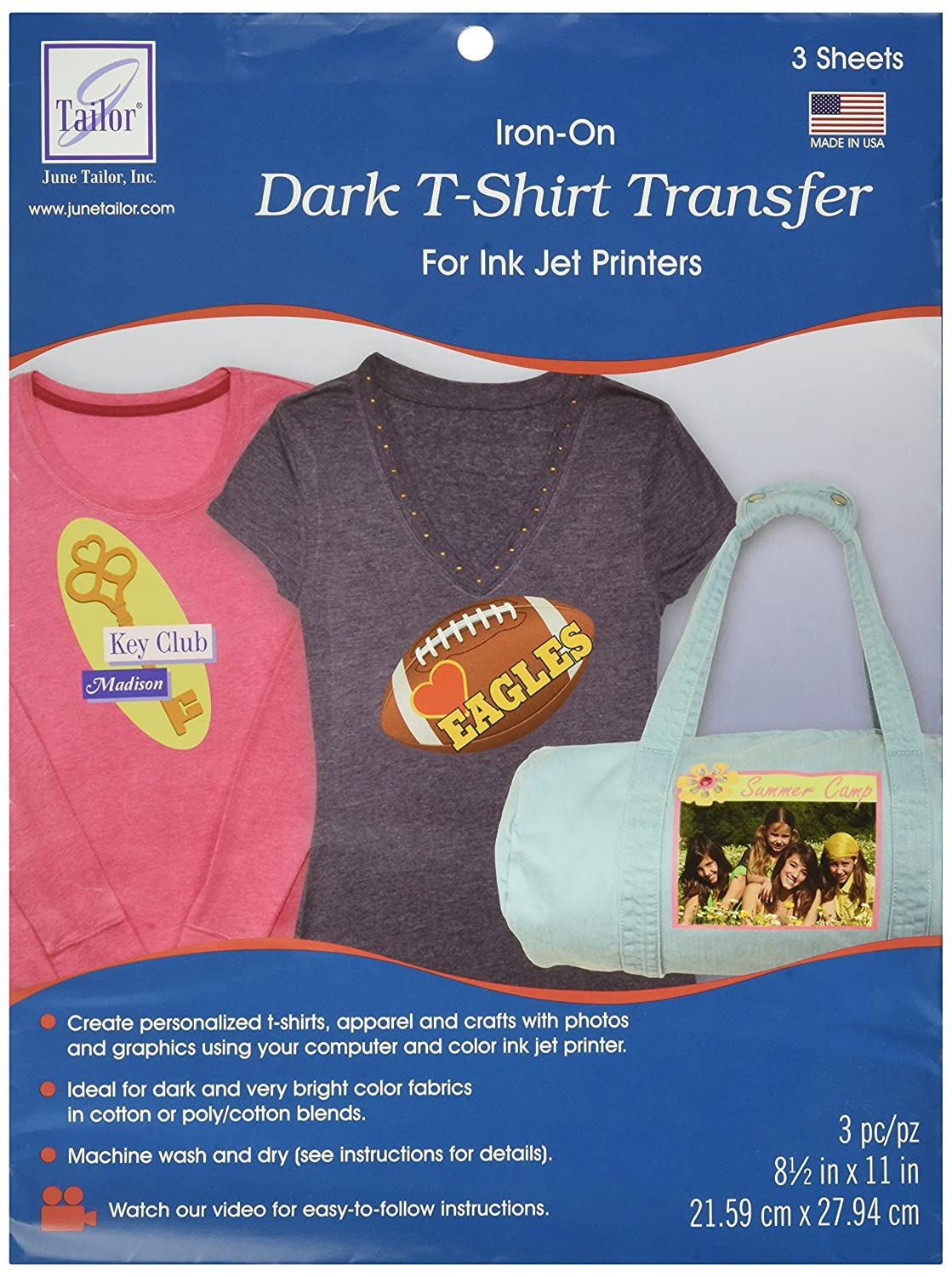 Design your own t shirt made in usa - Amazon Com June Tailor 8 1 2 Inch By 11 Inch Dark T Shirt Inkjet Transfers 3 Pack Arts Crafts Sewing