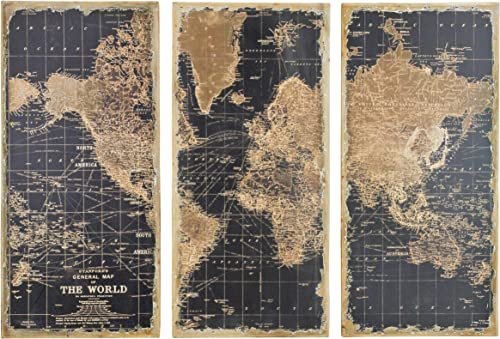 Aspire Stanford World Map Wall Decor Set of 3