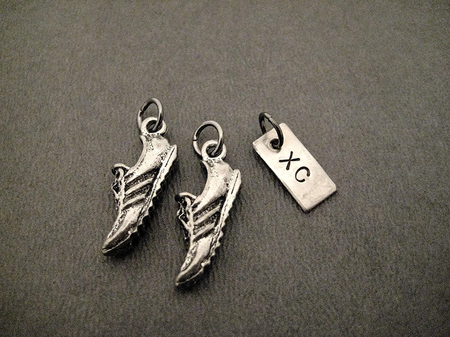 Running SHOE XC Charm Set - Pair of Running Shoe Charms - 2 Pewter Running Shoe Charms and 1 XC Charm in Organza Bag - TWO (2) Pewter Running Shoe Charms plus ONE (1) XC Charm