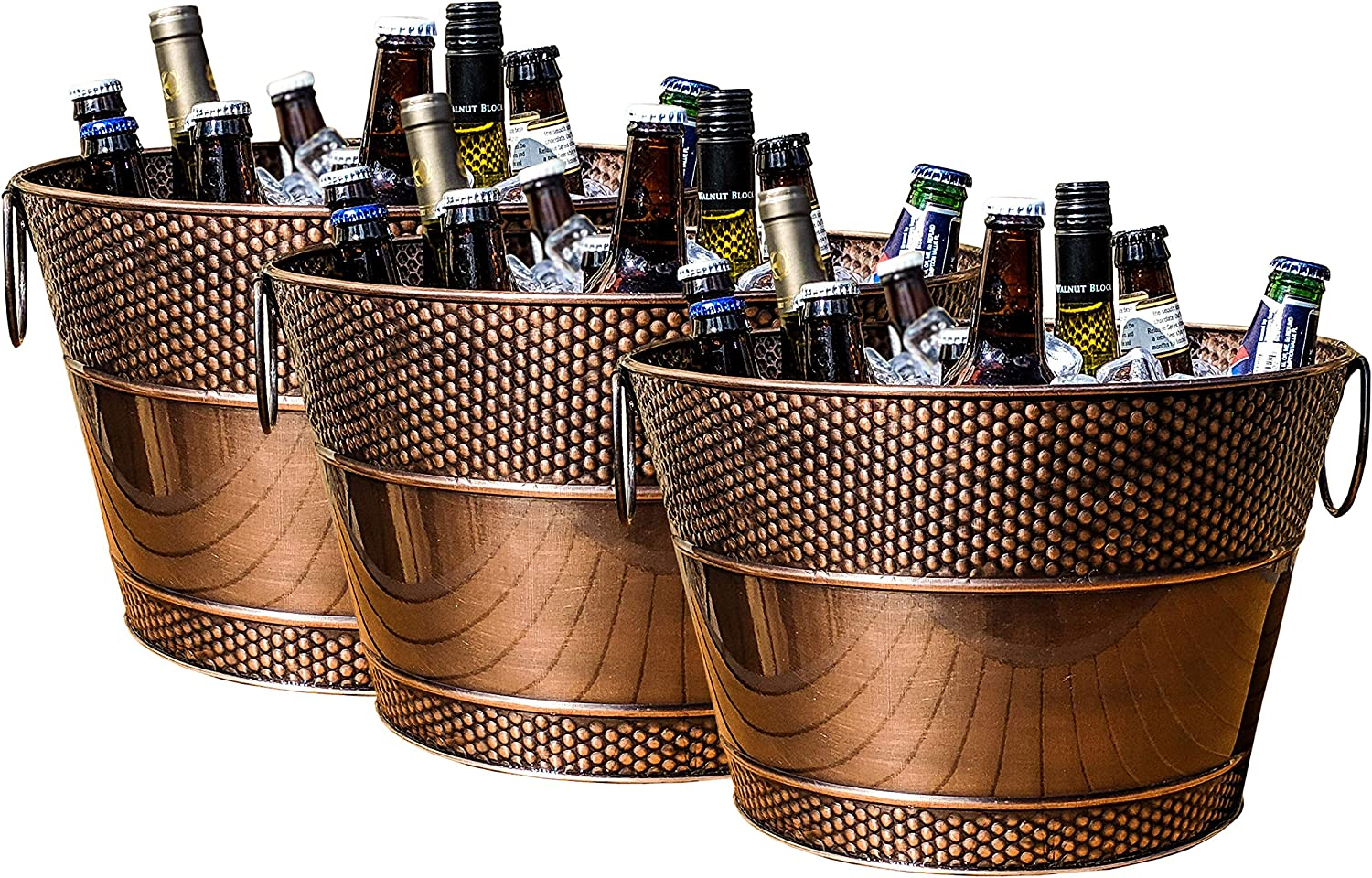 BREKX Old Tavern Copper Finish Hammered Beverage Tub and Wine Chiller, Rust-Resistant and Leak-Proof Ice and Drink Buckets, 15 Quarts, Set of 3