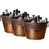 SET OF 3 BREKX Old Tavern Copper Finish Beverage Tub, Ice Bucket & Wine Chiller for Parties, Weddings, Events, Catering…