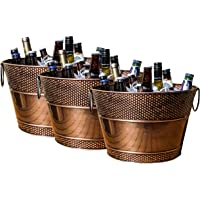 BREKX Old Tavern Copper-Finish Beverage Bucket and Wine Chiller, Rust-Resistant and Leak-Proof Ice and Drink Bucket, 15…