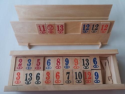 Nuevo completo de madera rummikub rummy juego de juego de los niños de estrategia de juego