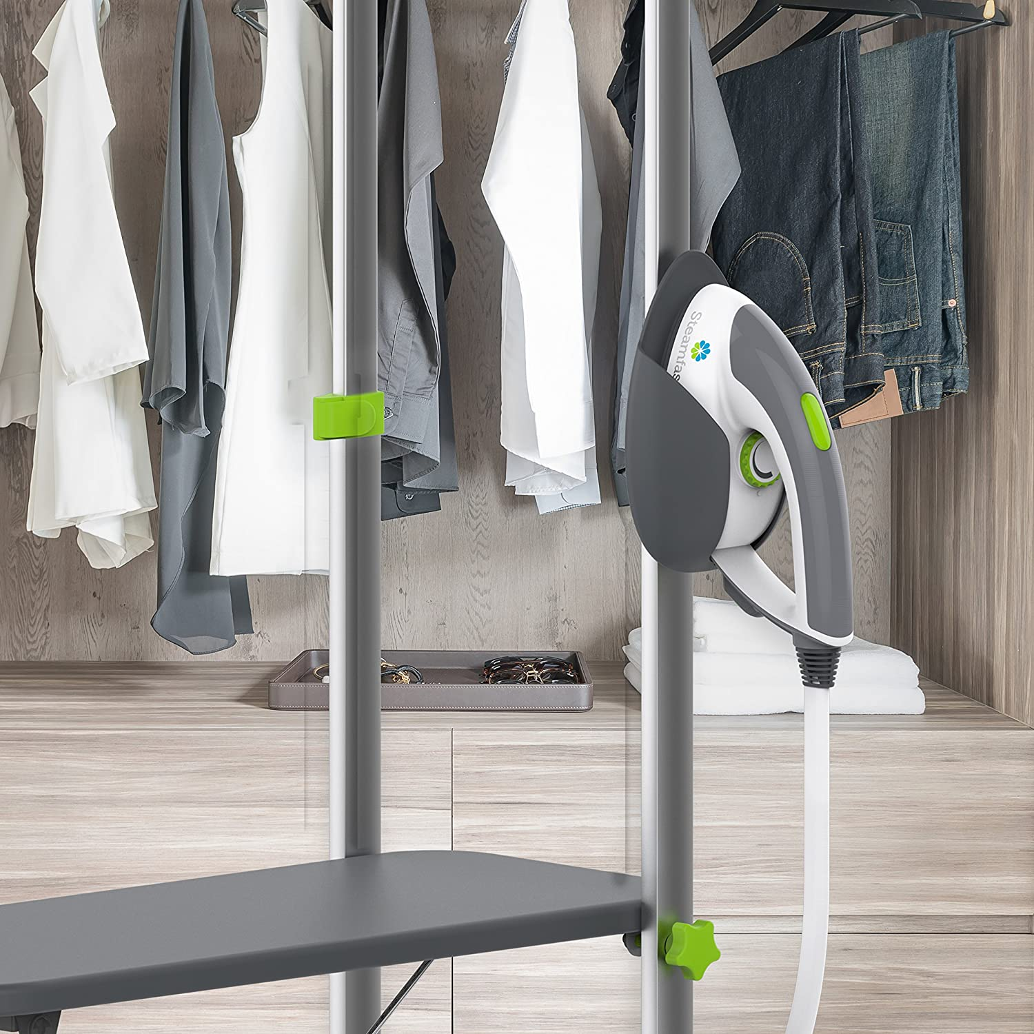 Steamfast SF-580 Professional Dual-Use Iron and Garment Steamer with 33.8-Ounce Water Tank Built-In Ironing Board and Garment Hanger