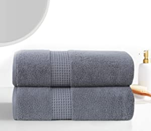BathTowel650 GSM 2pc Set Includes 2 BathTowelsCombed Cotton Highly Absorbent Quick-Dry Luxurious, Soft, Home Spa & HotelTowelsCollection, Grey
