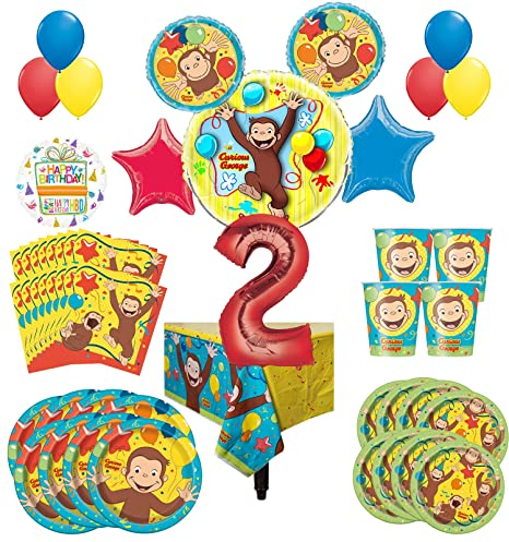 Amazon Curious George Party Supplies 8 Guest Kit 2nd Birthday Balloon Bouquet Decorations Toys Games