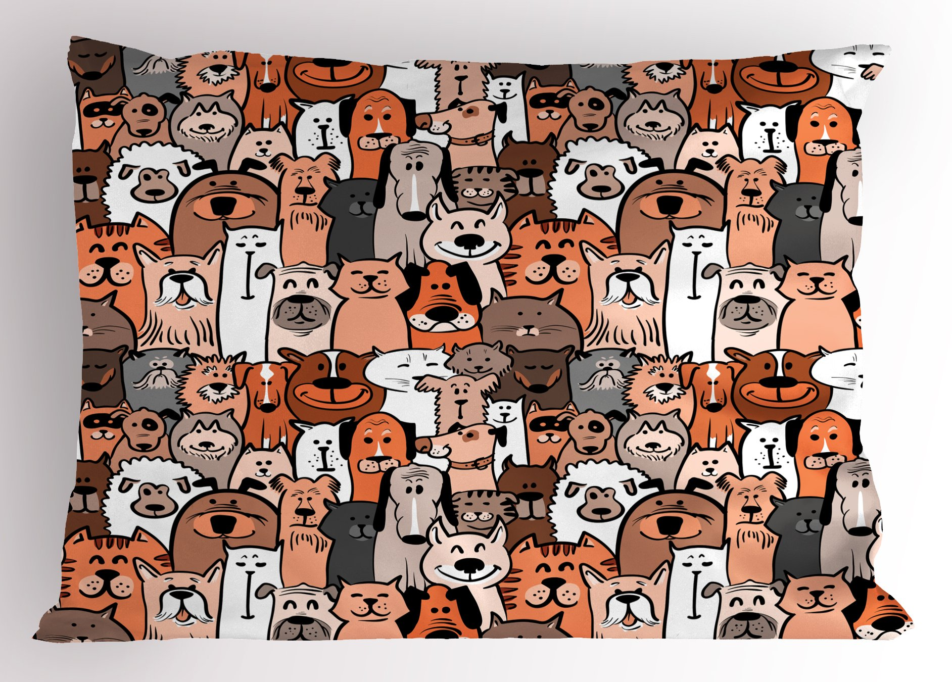 Ambesonne Animals Pillow Sham, Pattern of Pet Cats and Dogs Doodle Style Art Cartoon Style Retro Domestic Animals, Decorative Standard Size Printed Pillowcase, 26 X 20 inches, Brown Grey