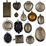 GraceAngie 15 Sets Mixed Setting Tray Pendant with Glass Cabochons Bronze/Silver/Gold/Black for Jewelry Making