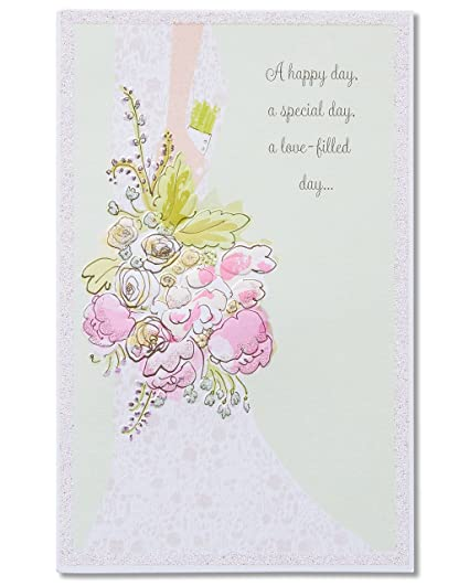 Amazon american greetings a happy day wedding card with american greetings a happy day wedding card with glitter m4hsunfo