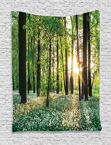 Ambesonne Forest Tapestry, Sunny Forest with Wild Garlic Enchanting Wildflowers Blossoms Landscape Scenery, Wall Hanging for Bedroom Living Room Dorm, 60 X 80 , White Green
