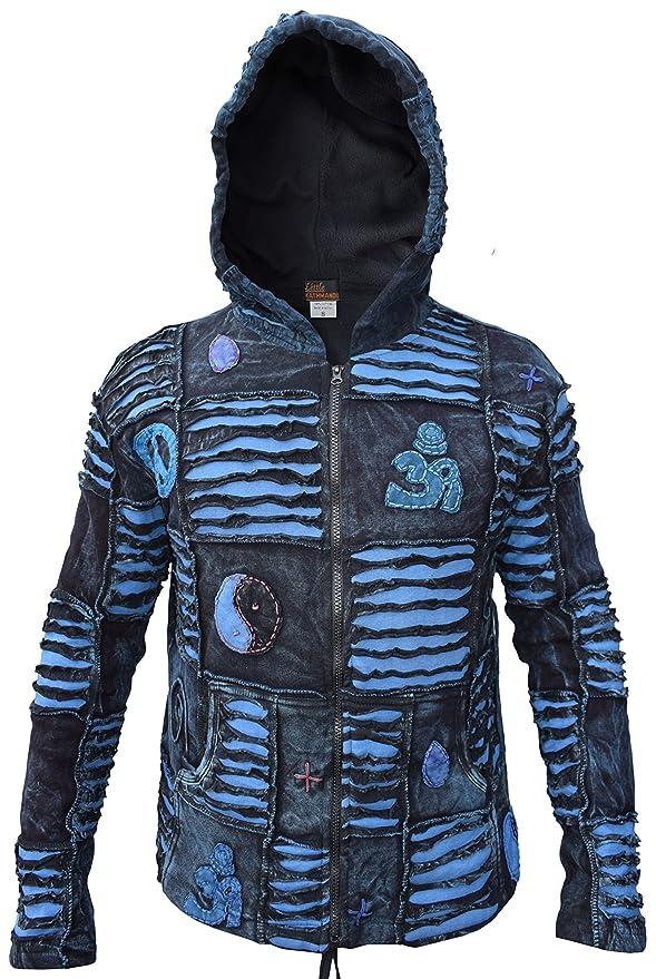 Little Kathmandu Mens Blue Ribs Razor Cut Hippie Goth Pixie Hood Jacket at Amazon Mens Clothing store: