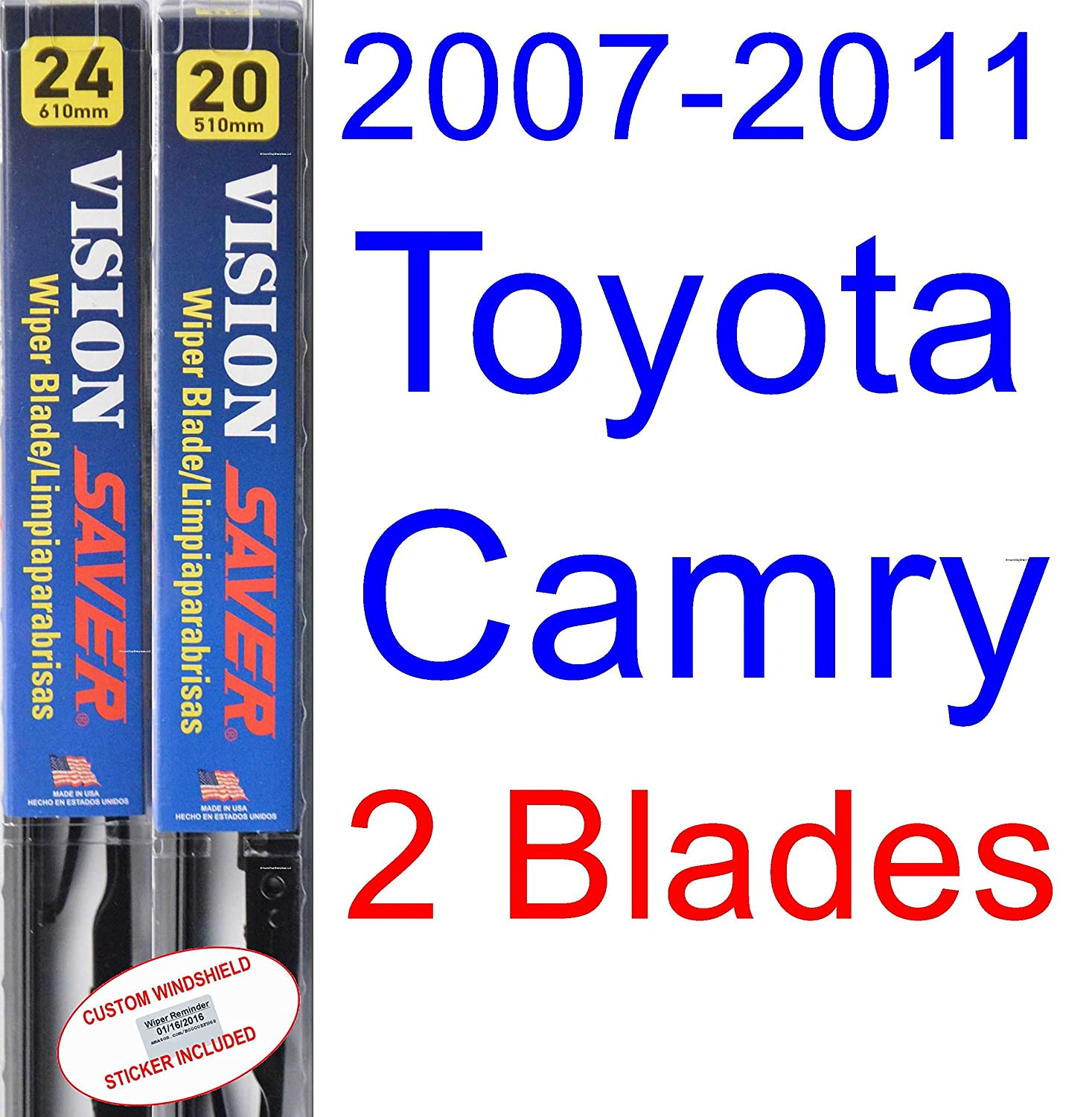 Amazon.com: 2007-2011 Toyota Camry Replacement Wiper Blade Set/Kit (Set of 2 Blades) (Saver Automotive Products-Vision Saver) (2008,2009,2010): Automotive