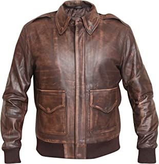 Mens Brown Jacket Vikings Fashion Aviator Jacket A-2 Distressed Brown Real Leather Jacket Mens Bomber Flight Jacket