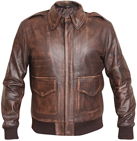 Retro Clothing for Men | Vintage Men's Fashion Aviator Men A2 Distressed Brown Real Leather Bomber Flight Jacket $149.95 AT vintagedancer.com