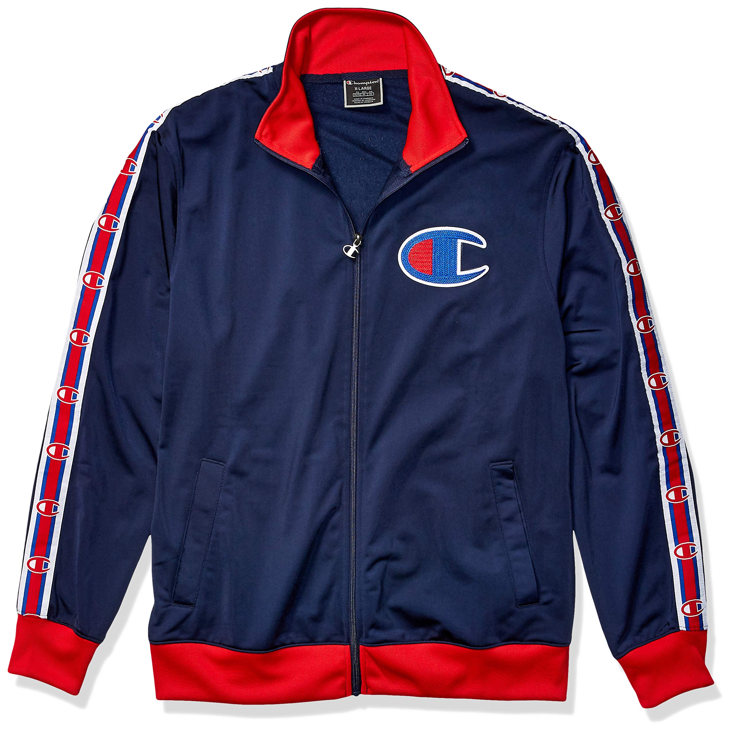 Champion LIFE Men's Track Jacket, Imperial Indigo/Scarlet, X-Large by Champion LIFE