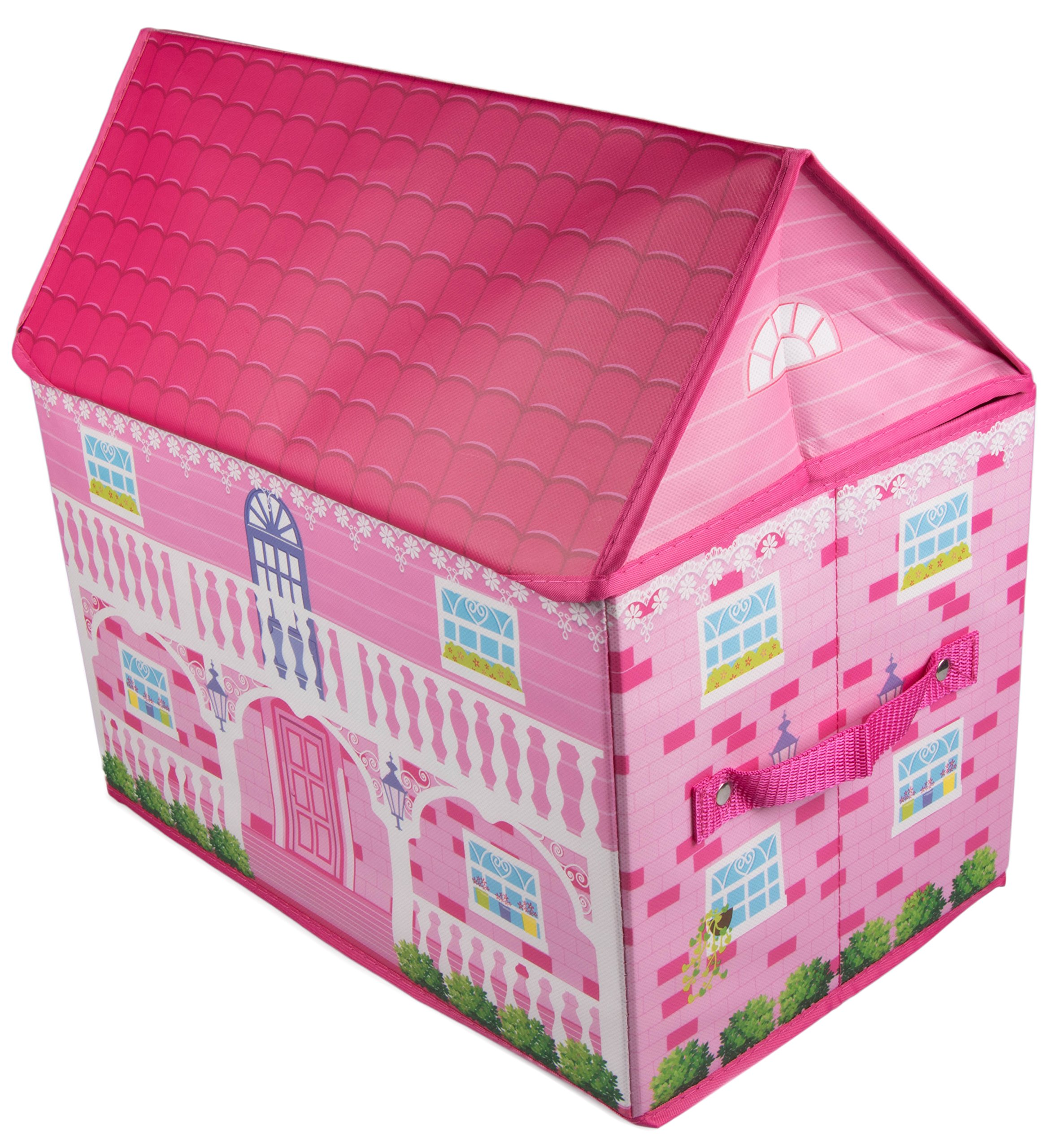 Clever Creations Pink Cottage-Style House Collapsible Toy Storage Organizer Sturdy Toy Box Folding Storage for Child's Bedroom | Perfect Size Toy Chest for Organizing Books, Toys, Clothes, Shoes