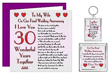 30 Hochzeitstag Geschenke | Meine Frau 30 Hochzeitstag Geschenk Set Karte Schlusselring