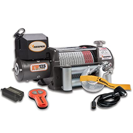 amazon com: keeper kw17122-1 12v dc heavy duty winch with wireless control  - 17500 lbs  load capacity: automotive