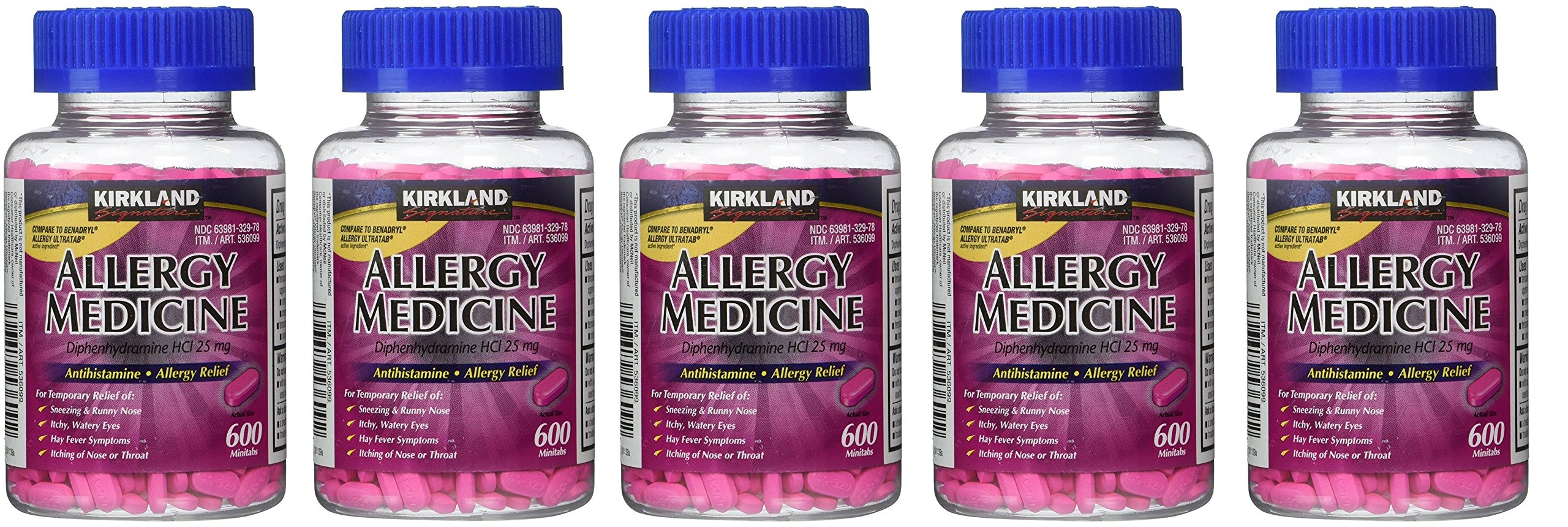 Diphenhydramine HCI 25 Mg - Kirkland Brand - Allergy Medicine and AntihistamineCompare to Active Ingredient of Benadryl Allergy Generic, 600 Count (5 Pack) by Kirkland Signature